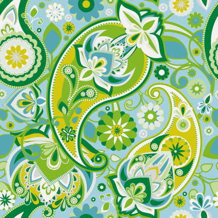 Seamless pattern based on traditional Asian elements Paisley. Pastel green and blue. Çizim
