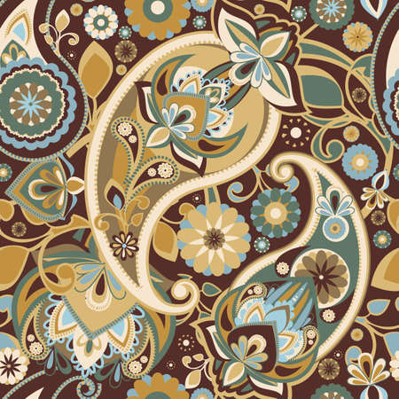 restrained: Seamless pattern based on traditional Asian elements Paisley. Restrained browns.