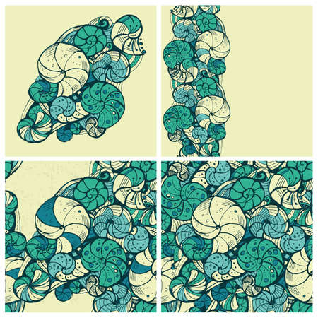 ringlet: Set of stylized patterns of shells of different composition.It includes three seamless background. Hand drawing. Illustration