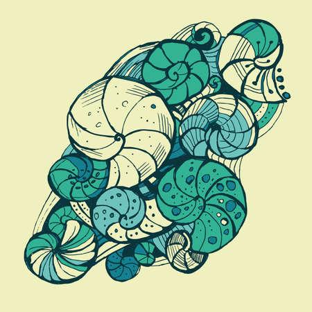 ringlet: Hand-drawing pattern of seashells.