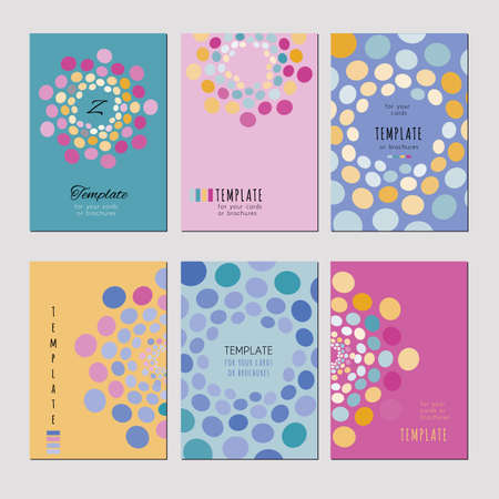 pastel tone: A set of template for card, notebook, album, booklet, poster, brochure, banner. Abstract circle pattern on a pastel tone background. Illustration