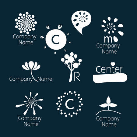Set logo templates. Can be used for: psychological counseling centers, development, coaching, self-development courses, childrens centers, family and child therapy. Dark background, white characters.