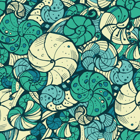 curlicue: Hand-drawing Seamless pattern of seashells.