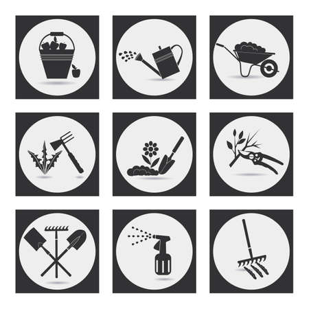 gardening tool: Gardening. Icons on the theme of organic farming. Symbols stages of cultivation of plants. Loosening the soil, fertilization, planting seedlings, watering, spraying and treatment of pests, weed control, pruning, harvesting, removal of fallen leaves.