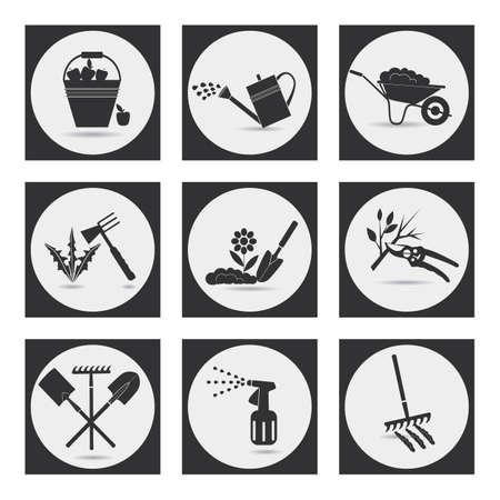 Jardinería. Iconos en el tema de la agricultura ecológica. Símbolos etapas de cultivo de plantas. El aflojamiento del suelo, fertilización, siembra de plántulas, riego, fumigación y tratamiento de plagas, control de malezas, poda, cosecha, la eliminación de las hojas caídas.