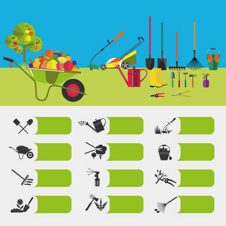 levelling: Gardening. Icons on the theme of organic farming. Symbols stages of cultivation of plants. Garden tools and accessories.