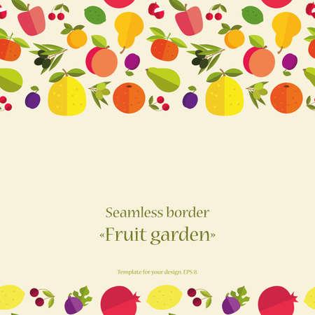 """tillage: Frontera inconsútil de frutas coloridas """"Jardín de la fruta"""". Plantilla para la tarjeta, la invitación, la cubierta y otro diseño."""