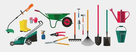 Gardening.Tools para trabajar en el jardín y kailyard. Adaptaciones para la siembra, planta excavación, riego, fertilizantes, fumigación, control de malezas, cosecha en el jardín. Ilustración de vector