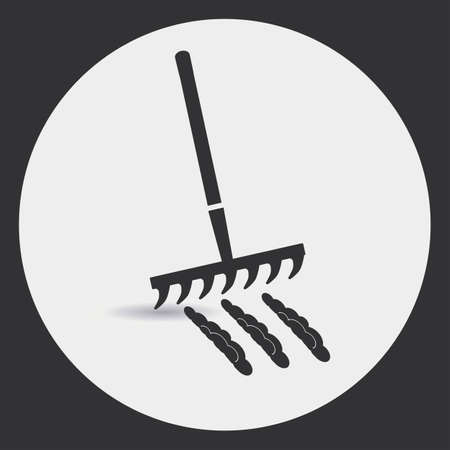 loosen: Gardening. Rake to loosen the soil. A black silhouette on a light background in a round frame.