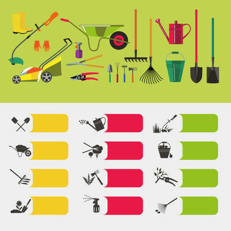 backyard work: Tools for planting, digging up the ground, irrigation, fertilizer, spraying, weed control, harvesting in the garden. Illustration
