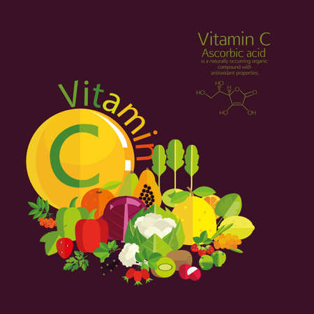 vitamin c: The composition of vegetables, fruits and berries with the highest vitamin C content. Brief description and molecular structure. Dark background.