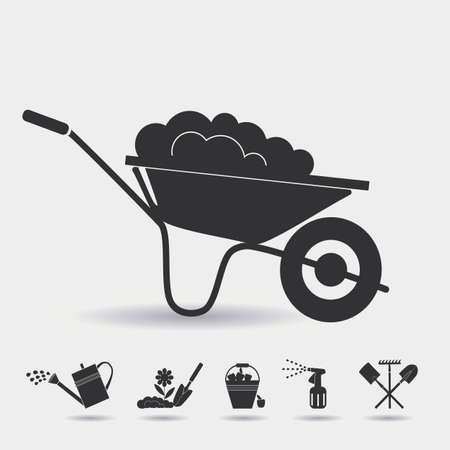cultivator: Garden wheelbarrow with soil.  Icons on the theme of organic farming. Devices for  planting seedlings, watering, spraying against pests and treatment, harvesting, digging of the soil. Illustration