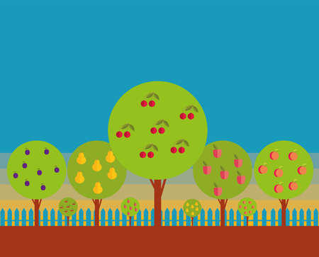 stylization: Orchard. Fruit trees against the blue sky. Stylization.