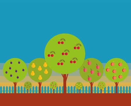 alberi da frutto: Orchard. Gli alberi da frutto contro il cielo blu. Stilizzazione. Vettoriali