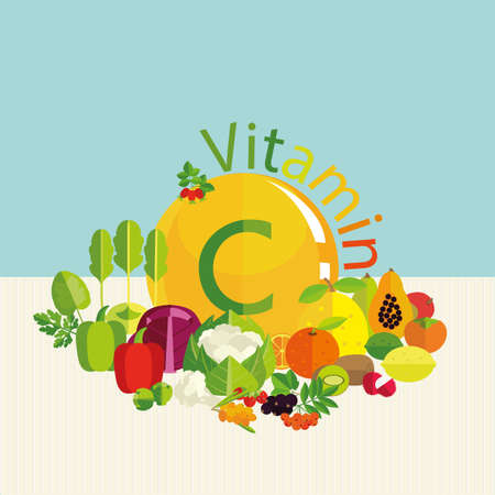 The composition of vegetables, fruits and berries with the highest vitamin C content. Basics of healthy nutrition. 向量圖像