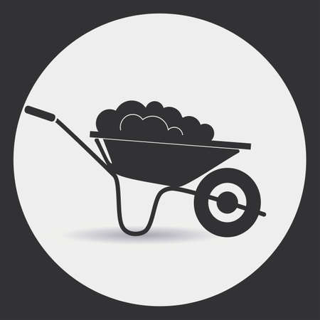 orchards: Garden wheelbarrow with soil. A black silhouette on a light background in a round frame.