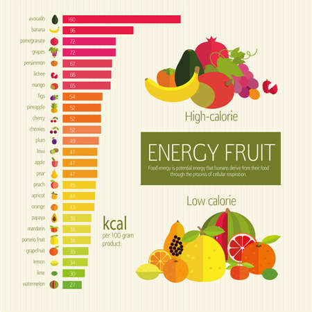 Basics dietary nutrition. Chart energy density (calorie) fruits and food component: dietary fiber, proteins, fats and carbohydrates. Illustrative diagram (infographics) and table of values.