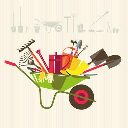 carretilla: Agricultura ecológica. Carretilla con las herramientas para trabajar en el jardín. Adaptaciones para la siembra, la excavación hasta el suelo, riego, fertilizantes, fumigación, control de malezas, cosecha en el jardín. Vectores