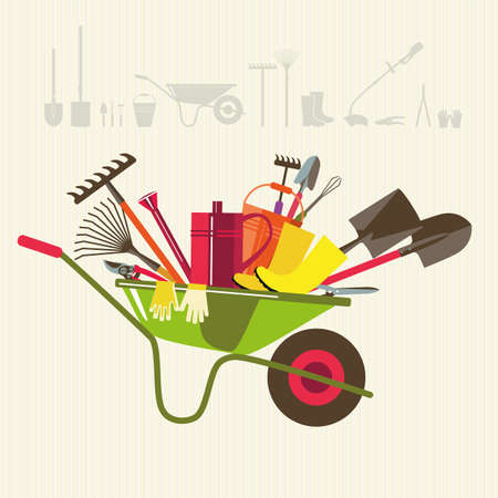 garden tool: Organic farming. Wheelbarrow with tools to work in the garden. Adaptations for planting, digging up the ground, irrigation, fertilizer, spraying, weed control, harvesting in the garden. Illustration