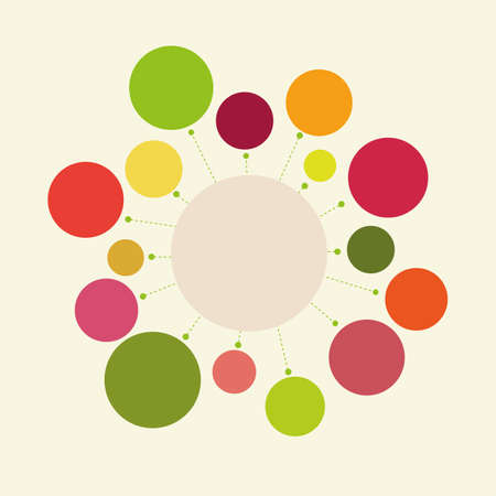 harmonious: Abstract geometric composition - a circle with rays. Design element or infographics. The harmonious color combination of warm tones.