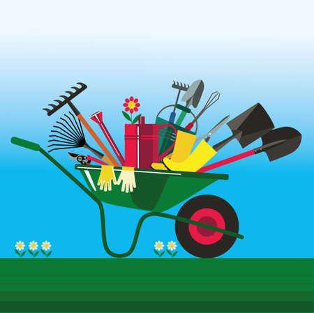 정원과 kailyard에서 일하기위한 도구. 심기, 땅 파기, 관개, 비료, 살포, 잡초 제거, 정원에서 수확을위한 적응. 일러스트