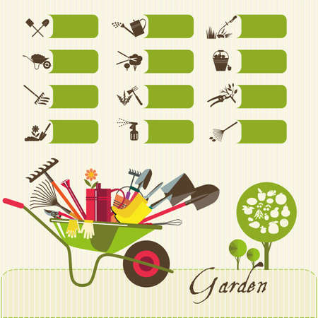 Tools for working in the garden.  Icons on the theme of organic farming. Symbols stages of cultivation of plants.