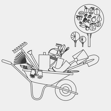 loosening: Organic farming. Garden wheelbarrow with tools. Devices for loosening soil, fertilization, planting seedlings, watering, spraying against pests and treatment, weed control, pruning, harvesting, removal of fallen leaves.