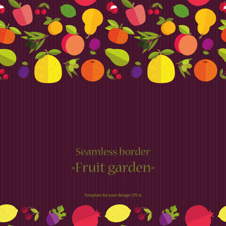 """labranza: Frontera incons�til de frutas coloridas """"Jard�n de la fruta"""". Plantilla para la tarjeta, la invitaci�n, la cubierta y otro dise�o. Colored placer sobre un fondo oscuro."""