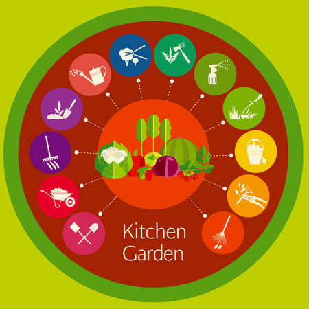 loosening: Organic cultivation of vegetables in the kitchen garden. Stages care cultivated plants: planting, digging up the ground, irrigation, fertilizer, spraying, weed control, harvesting in the garden. Illustration