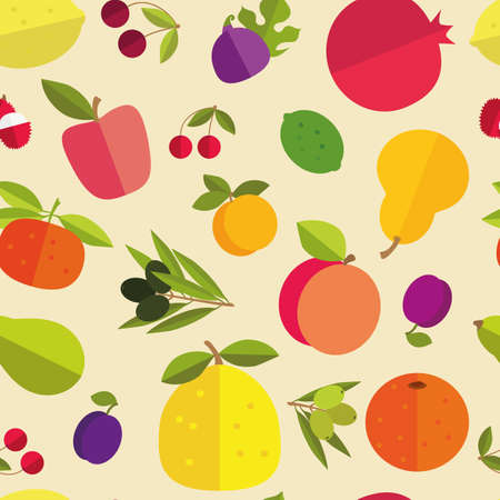 pleasant: Seamless pattern of placer fruits of fruit trees. Citrus fruits, stone fruits, pome fruits and exotic fruits on a light background. Bright pleasant colors.