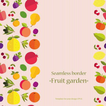 """labranza: Frontera inconsútil de frutas coloridas """"Jardín de la fruta"""". Plantilla para la tarjeta, la invitación, la cubierta y otro diseño. Frutas de colores sobre un fondo claro de la textura."""
