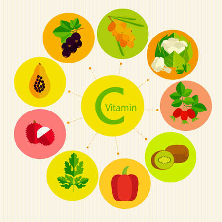Basics of healthy nutrition. Vitamin C in fruits, vegetables, berries and herbs. Ilustração