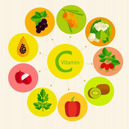 Notions de base d'une alimentation saine. La vitamine C dans les fruits, les légumes, les baies et des herbes. Banque d'images - 41548310