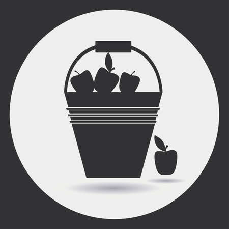 aple: Gardening. Icons on the theme of organic farming. harvesting Illustration