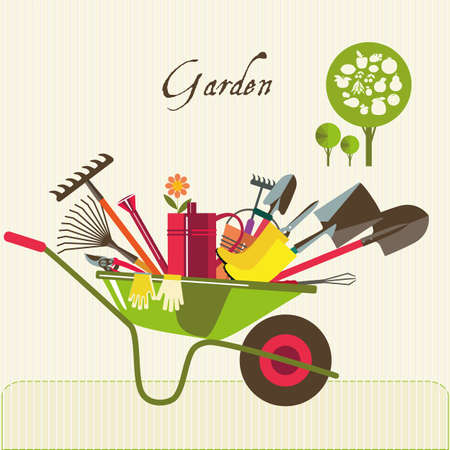 loosening: Organic farming. Wheelbarrow with tools to work in the garden. Adaptations for planting, digging up the ground, irrigation, fertilizer, spraying, weed control. Fruit tree. Illustration