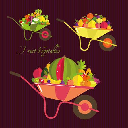 kitchen garden: Harvest. Garden wheelbarrow with fruits, vegetables and berries.