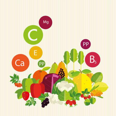 ascorbic: Hortalizas, frutas y vitaminas. Composici�n estilizada.