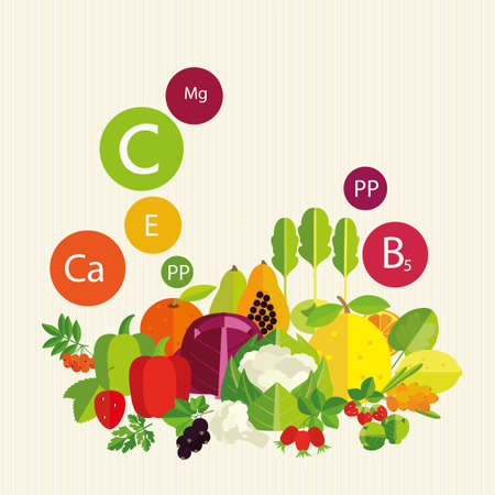 vitamins: Vegetables, fruit and vitamins. Stylized composition. Illustration