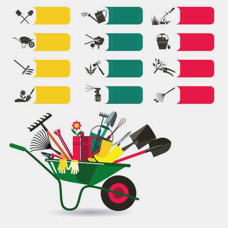 Gardening. Icons on the theme of organic farming. Symbols stages of cultivation of plants. Cultivation and fertilization, planting seedlings, watering, spraying and treatment of pests, weed control, pruning, harvesting, removal of fallen leaves. Garden wh