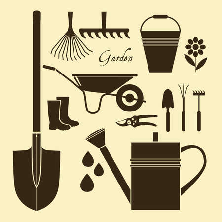 garden: Gardening. Garden tools for digging the soil, fertilization, watering, spraying and treatment of pests, pruning, harvesting, removal of fallen leaves. Illustration