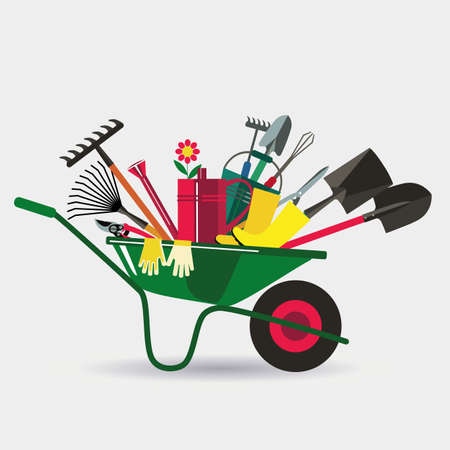 cultivator: Organic farming. Wheelbarrow with tools to work in the garden. Adaptations for planting, digging up the ground, irrigation, fertilizer, spraying, weed control. White background.