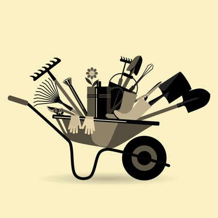 Biologische landbouw. Tuin kruiwagen met gereedschap. Inrichtingen voor het losmaken van de bodem, bemesting, het planten van zaailingen, het water geven, spuiten tegen ongedierte en behandeling, onkruidbestrijding, snoeien, oogsten, het verwijderen van afgevallen bladeren.
