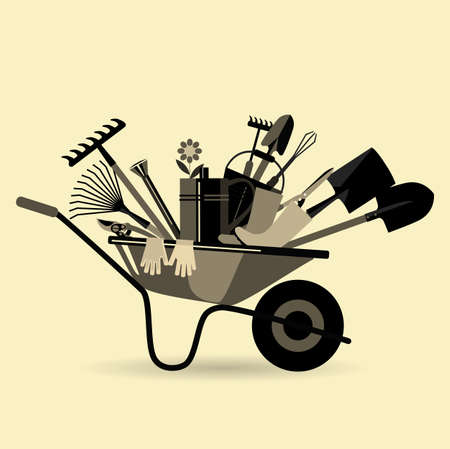 Organic farming. Garden wheelbarrow with tools. Devices for loosening soil, fertilization, planting seedlings, watering, spraying against pests and treatment, weed control, pruning, harvesting, removal of fallen leaves.