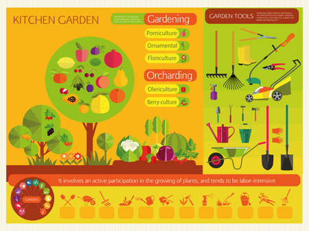 crop sprayer: Gardening. Organic cultivation of fruit and vegetables. Fruit trees, garden bed with vegetables and berries, garden tools. The icons on the theme of planting, digging up the ground, irrigation, fertilizer, spraying, weed control, harvesting in the garden. Illustration