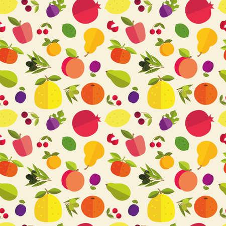 tillage: Seamless pattern di frutti alluvionali di alberi da frutto. Agrumi, drupacee, pomacee e frutta esotica su sfondo chiaro. Vettoriali