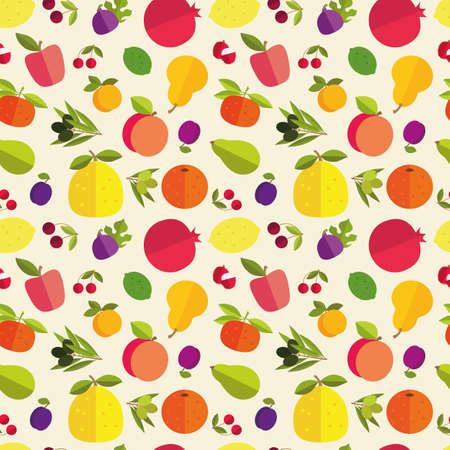Seamless pattern of placer fruits of fruit trees. Citrus fruits, stone fruits, pome fruits and exotic fruits on a light background.
