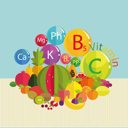 ascorbic: Composici�n estilizada - frutas frescas y vitaminas. Los minerales traza - calcio, potasio, f�sforo, magnesio y vitaminas B5, C, B9, PP. Fundamentos de la nutrici�n saludable. Vectores