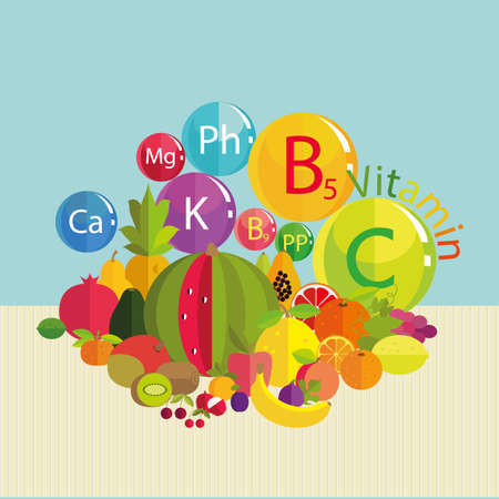 basics: Stylized composition - fresh fruit and vitamins. Trace minerals - calcium, potassium, phosphorus, magnesium and vitamins B5, C, B9, PP. Basics of healthy nutrition.