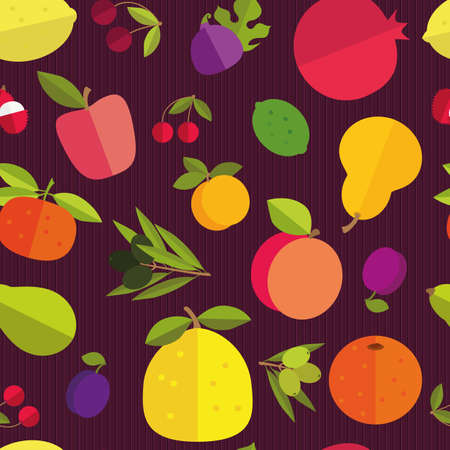 fruit: Seamless pattern of placer fruits of fruit trees. Citrus fruits, stone fruits, pome fruits and exotic fruits on a dark purple background. Saturated colors. Illustration