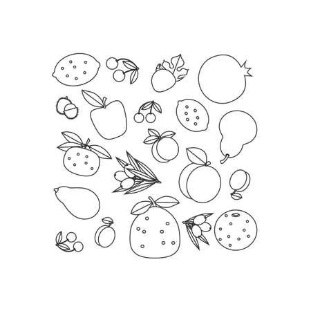 labranza: Contorno de composición en blanco y negro de frutas. Fondo blanco, el contorno negro.
